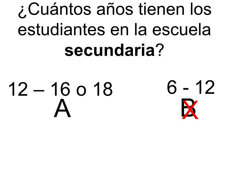 ¿Cuántos años tienen los estudiantes en la escuela secundaria 12 – 16 o 18 6 - 12 A B X