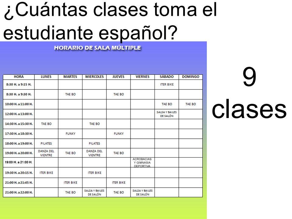 ¿Cuántas clases toma el estudiante español 9 clases