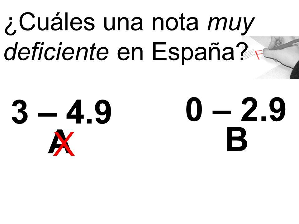 ¿Cuáles una nota muy deficiente en España 3 – 4.9 0 – 2.9 A B X
