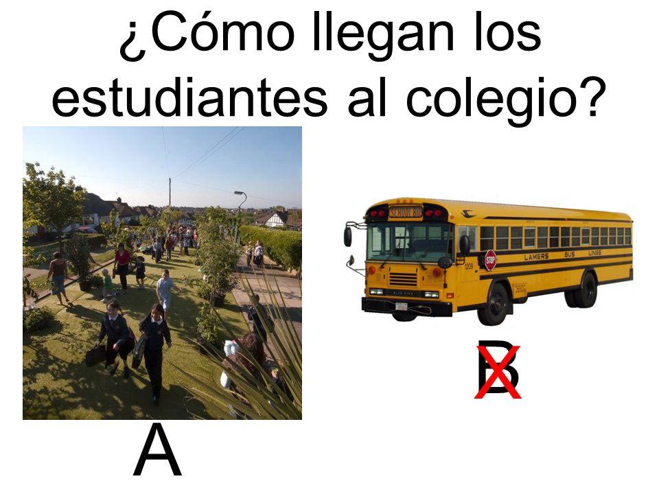 ¿Cómo llegan los estudiantes al colegio A B X