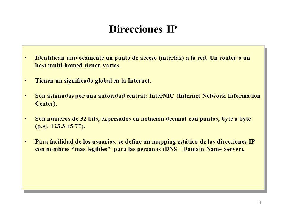 1 Direcciones IP Identifican unívocamente un punto de acceso (interfaz) a la red.