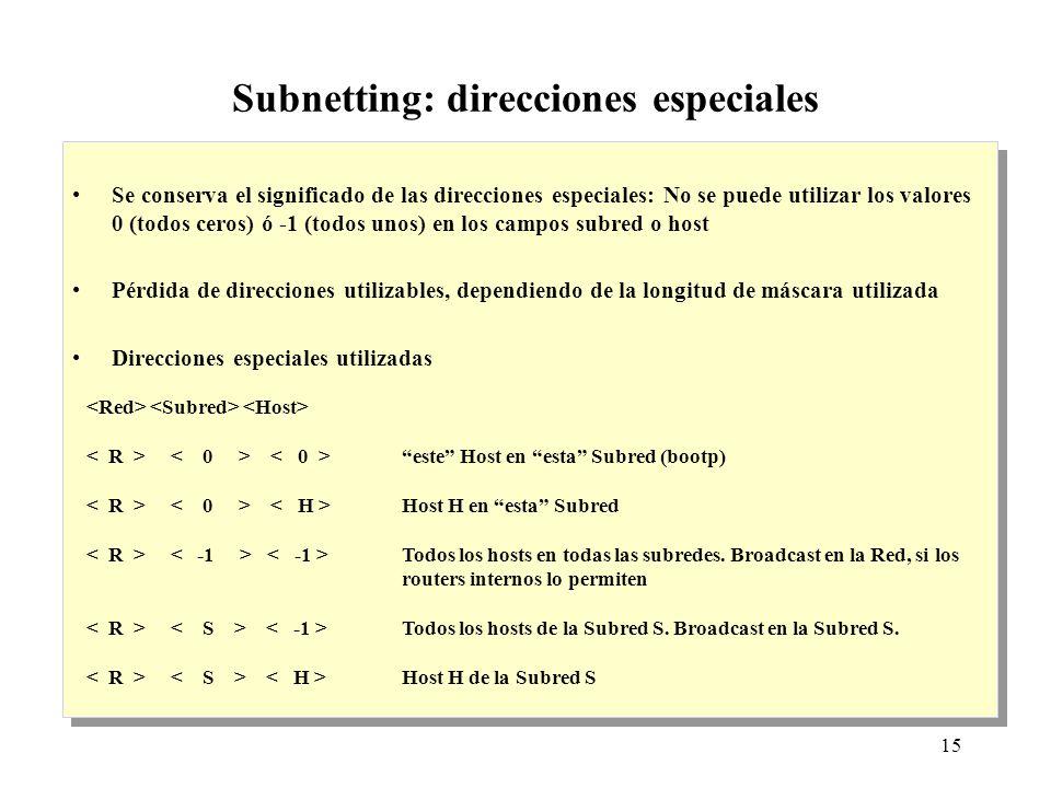 15 Subnetting: direcciones especiales Se conserva el significado de las direcciones especiales: No se puede utilizar los valores 0 (todos ceros) ó -1 (todos unos) en los campos subred o host Pérdida de direcciones utilizables, dependiendo de la longitud de máscara utilizada Direcciones especiales utilizadas Se conserva el significado de las direcciones especiales: No se puede utilizar los valores 0 (todos ceros) ó -1 (todos unos) en los campos subred o host Pérdida de direcciones utilizables, dependiendo de la longitud de máscara utilizada Direcciones especiales utilizadas este Host en esta Subred (bootp) Host H en esta Subred Todos los hosts en todas las subredes.