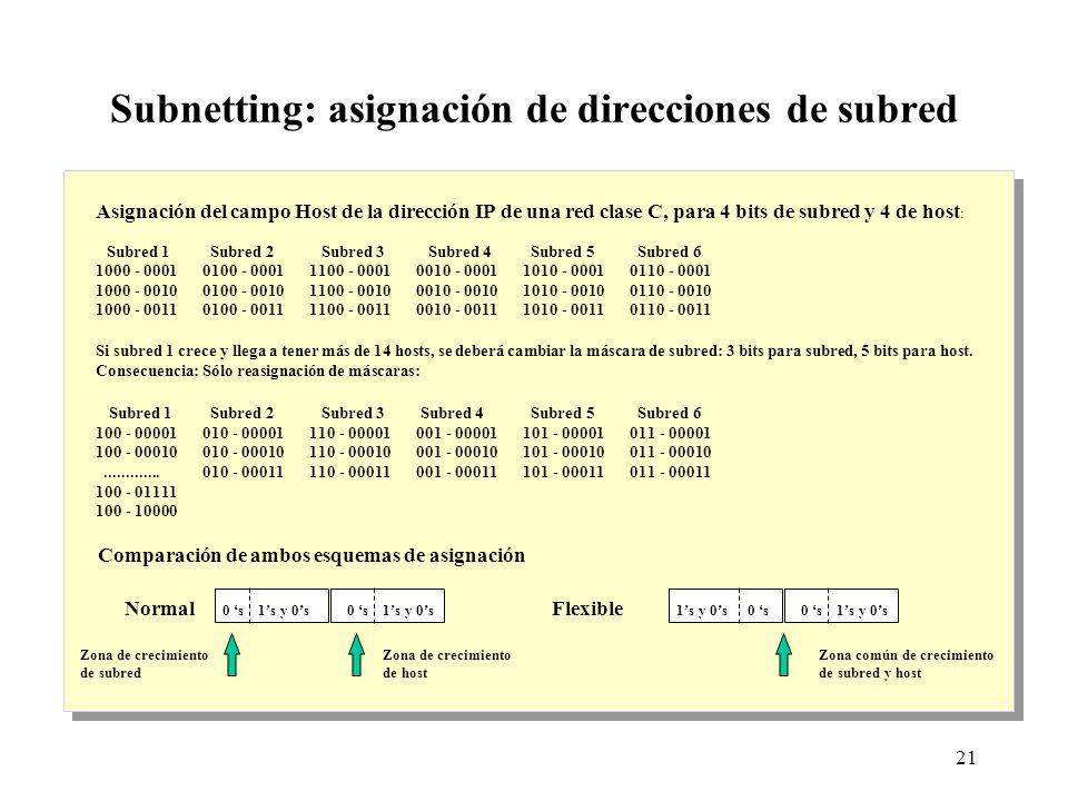 21 Subnetting: asignación de direcciones de subred Comparación de ambos esquemas de asignación Asignación del campo Host de la dirección IP de una red clase C, para 4 bits de subred y 4 de host : Subred 1 Subred 2 Subred 3 Subred 4 Subred 5 Subred 6 1000 - 00010100 - 00011100 - 00010010 - 00011010 - 00010110 - 0001 1000 - 00100100 - 00101100 - 00100010 - 00101010 - 00100110 - 0010 1000 - 00110100 - 00111100 - 00110010 - 00111010 - 00110110 - 0011 Si subred 1 crece y llega a tener más de 14 hosts, se deberá cambiar la máscara de subred: 3 bits para subred, 5 bits para host.