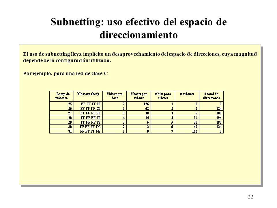22 Subnetting: uso efectivo del espacio de direccionamiento El uso de subnetting lleva implícito un desaprovechamiento del espacio de direcciones, cuya magnitud depende de la configuración utilizada.