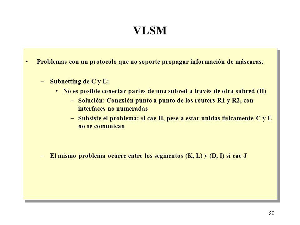30 VLSM Problemas con un protocolo que no soporte propagar información de máscaras: –Subnetting de C y E: No es posible conectar partes de una subred a través de otra subred (H) –Solución: Conexión punto a punto de los routers R1 y R2, con interfaces no numeradas –Subsiste el problema: si cae H, pese a estar unidas físicamente C y E no se comunican –El mismo problema ocurre entre los segmentos (K, L) y (D, I) si cae J Problemas con un protocolo que no soporte propagar información de máscaras: –Subnetting de C y E: No es posible conectar partes de una subred a través de otra subred (H) –Solución: Conexión punto a punto de los routers R1 y R2, con interfaces no numeradas –Subsiste el problema: si cae H, pese a estar unidas físicamente C y E no se comunican –El mismo problema ocurre entre los segmentos (K, L) y (D, I) si cae J