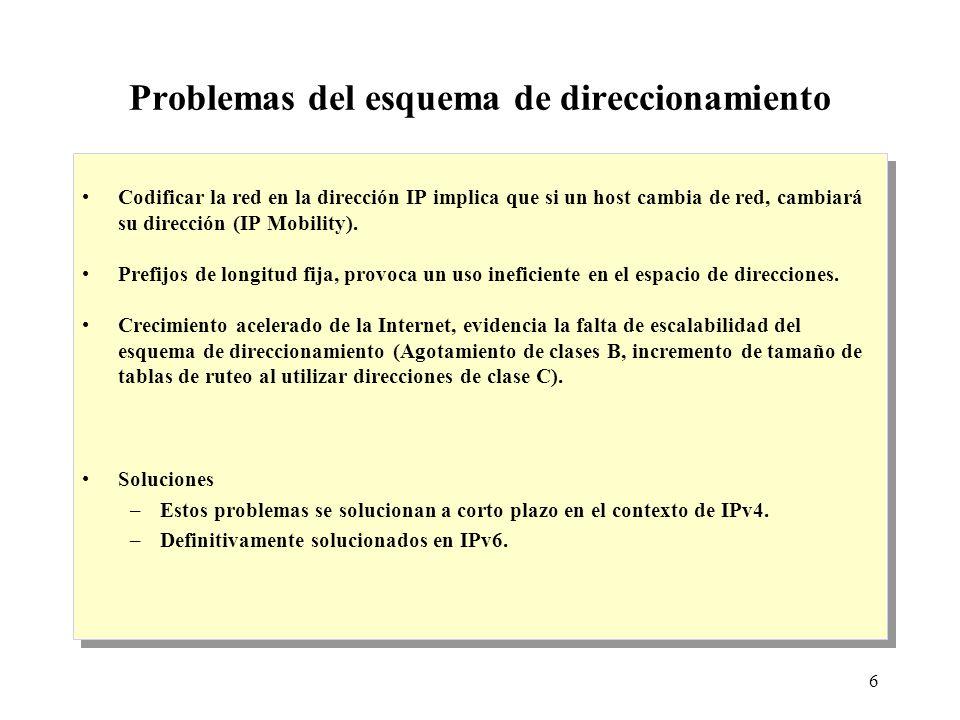 6 Problemas del esquema de direccionamiento Codificar la red en la dirección IP implica que si un host cambia de red, cambiará su dirección (IP Mobility).