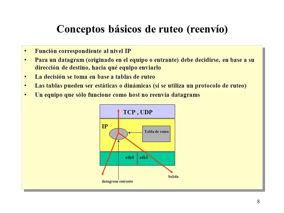 8 Conceptos básicos de ruteo (reenvío) Función correspondiente al nivel IP Para un datagram (originado en el equipo o entrante) debe decidirse, en base a su dirección de destino, hacia qué equipo enviarlo La decisión se toma en base a tablas de ruteo Las tablas pueden ser estáticas o dinámicas (si se utiliza un protocolo de ruteo) Un equipo que sólo funcione como host no reenvía datagrams Función correspondiente al nivel IP Para un datagram (originado en el equipo o entrante) debe decidirse, en base a su dirección de destino, hacia qué equipo enviarlo La decisión se toma en base a tablas de ruteo Las tablas pueden ser estáticas o dinámicas (si se utiliza un protocolo de ruteo) Un equipo que sólo funcione como host no reenvía datagrams TCP, UDP IP Tabla de ruteo eth0eth1 datagram entrante Salida