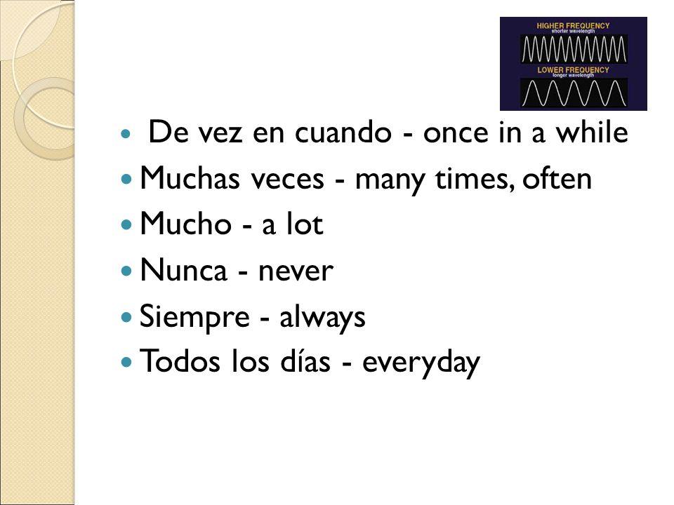 De vez en cuando - once in a while Muchas veces - many times, often Mucho - a lot Nunca - never Siempre - always Todos los d í as - everyday