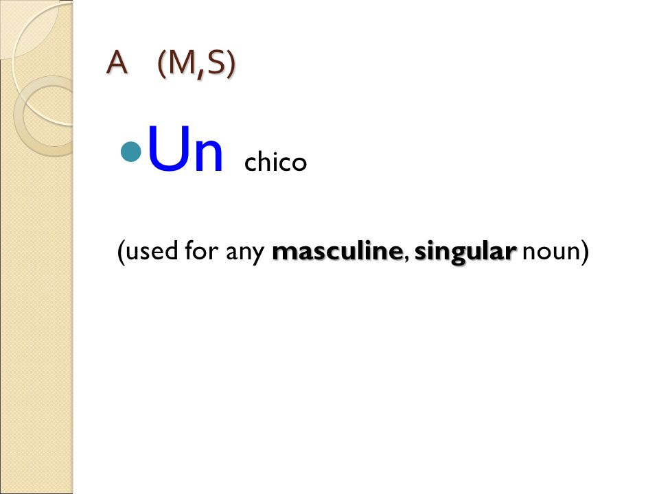 A (M,S) Un chico masculinesingular (used for any masculine, singular noun)