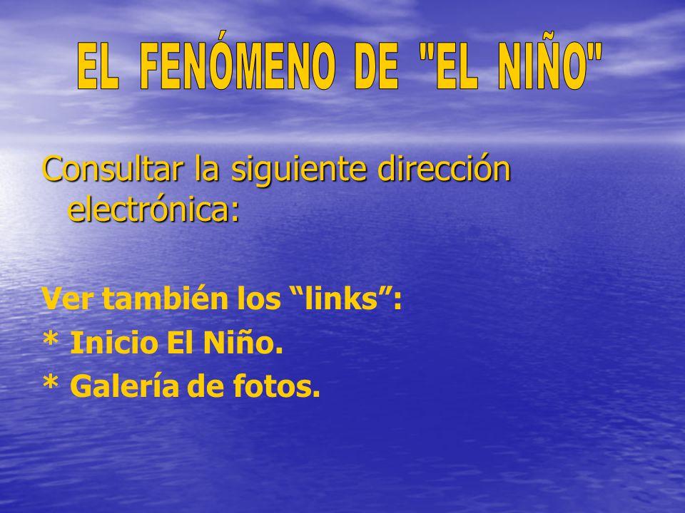 Consultar la siguiente dirección electrónica: Ver también los links : * Inicio El Niño.