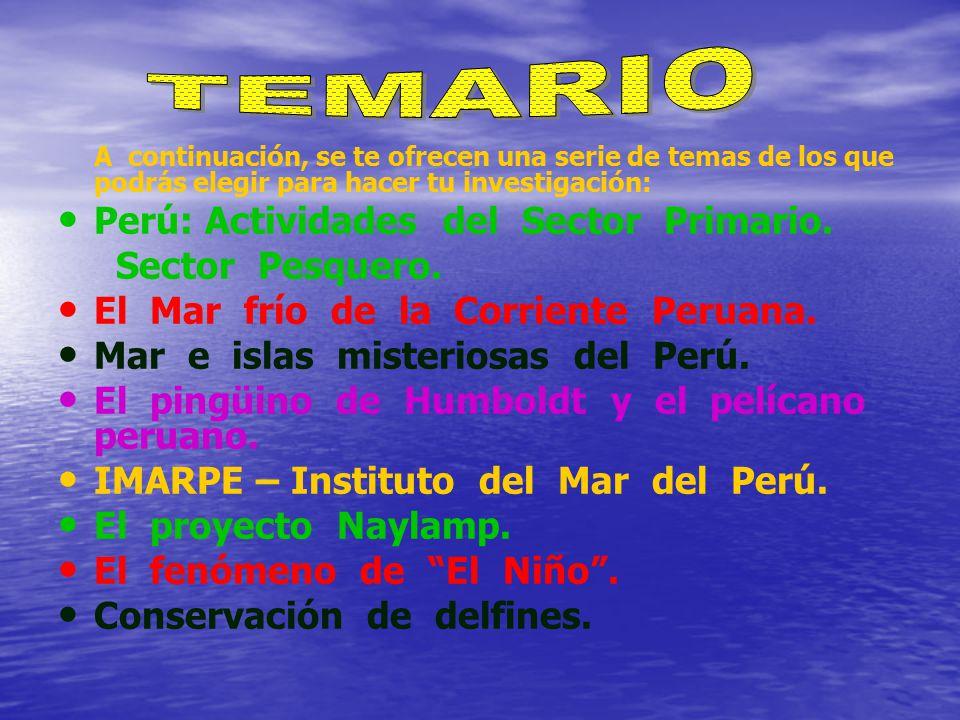 A continuación, se te ofrecen una serie de temas de los que podrás elegir para hacer tu investigación: Perú: Actividades del Sector Primario.