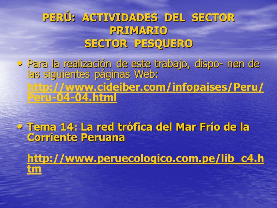 PERÚ: ACTIVIDADES DEL SECTOR PRIMARIO SECTOR PESQUERO Para la realización de este trabajo, dispo- nen de las siguientes páginas Web: Para la realización de este trabajo, dispo- nen de las siguientes páginas Web: http://www.cideiber.com/infopaises/Peru/ Peru-04-04.html Tema 14: La red trófica del Mar Frío de la Corriente Peruana Tema 14: La red trófica del Mar Frío de la Corriente Peruana http://www.peruecologico.com.pe/lib_c4.h tm