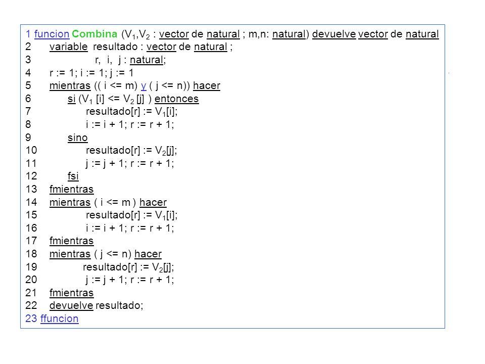 1 funcion Combina (V 1,V 2 : vector de natural ; m,n: natural) devuelve vector de natural 2variable resultado : vector de natural ; 3 r, i, j : natural; 4r := 1; i := 1; j := 1 5mientras (( i <= m) y ( j <= n)) hacer 6 si (V 1 [i] <= V 2 [j] ) entonces 7 resultado[r] := V 1 [i]; 8 i := i + 1; r := r + 1; 9 sino 10 resultado[r] := V 2 [j]; 11 j := j + 1; r := r + 1; 12 fsi 13fmientras 14mientras ( i <= m ) hacer 15 resultado[r] := V 1 [i]; 16 i := i + 1; r := r + 1; 17fmientras 18mientras ( j <= n) hacer 19 resultado[r] := V 2 [j]; 20 j := j + 1; r := r + 1; 21fmientras 22devuelve resultado; 23 ffuncion