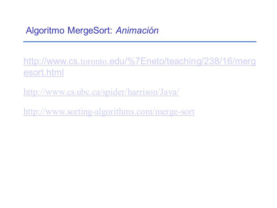 Algoritmo MergeSort: Animación http://www.cs.