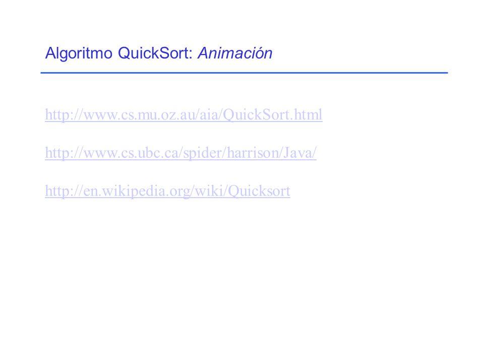 Algoritmo QuickSort: Animación http://www.cs.ubc.ca/spider/harrison/Java/ http://en.wikipedia.org/wiki/Quicksort http://www.cs.mu.oz.au/aia/QuickSort.html