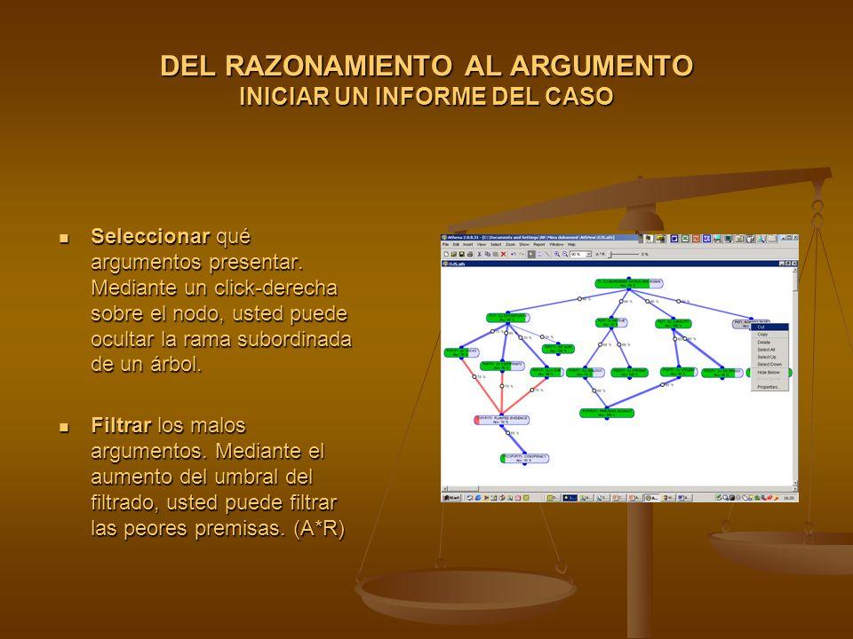 DEL RAZONAMIENTO AL ARGUMENTO INICIAR UN INFORME DEL CASO Seleccionar qué argumentos presentar.