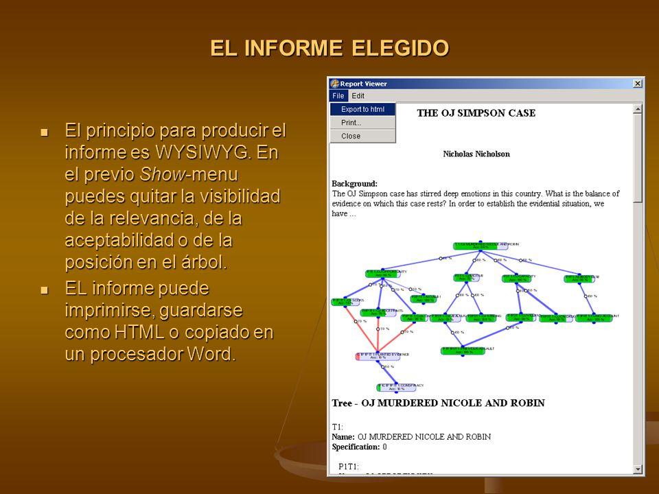 EL INFORME ELEGIDO El principio para producir el informe es WYSIWYG.