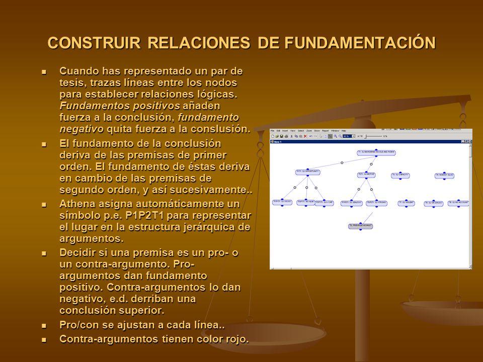 CONSTRUIR RELACIONES DE FUNDAMENTACIÓN Cuando has representado un par de tesis, trazas líneas entre los nodos para establecer relaciones lógicas.