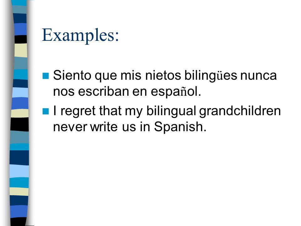 Examples: Siento que mis nietos biling ü es nunca nos escriban en espa ñ ol.