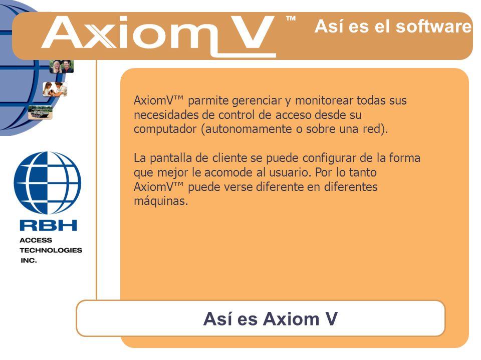 Así es Axiom V Así es el software AxiomV™ parmite gerenciar y monitorear todas sus necesidades de control de acceso desde su computador (autonomamente o sobre una red).