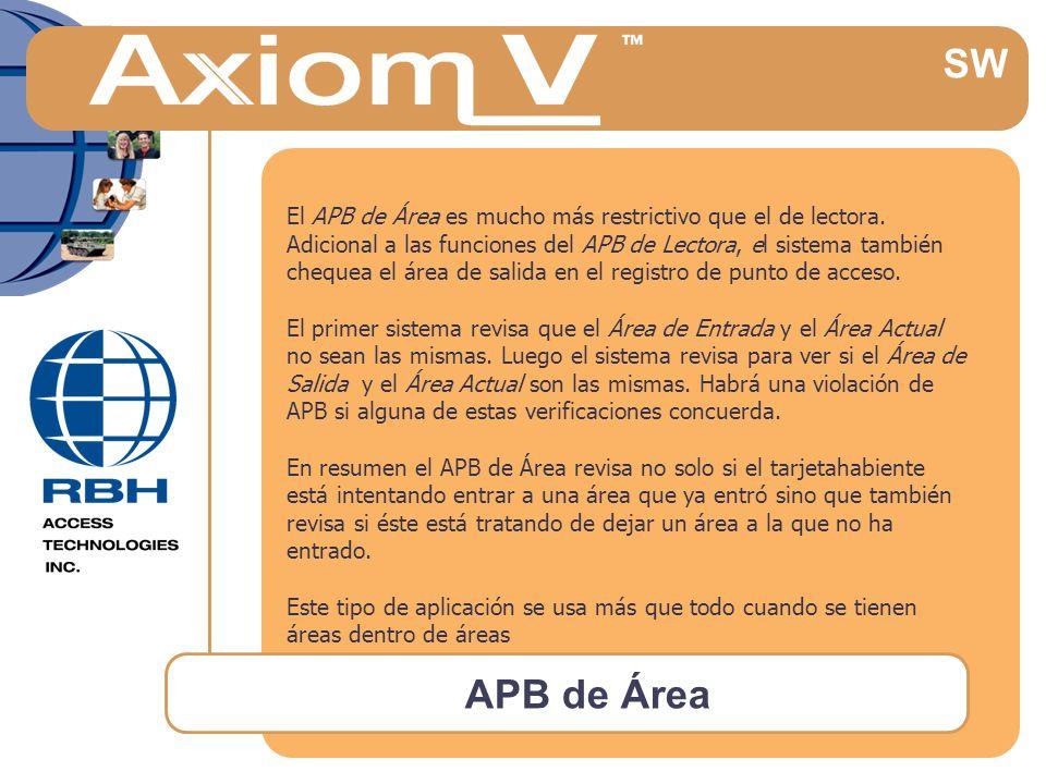 APB de Área SW El APB de Área es mucho más restrictivo que el de lectora.