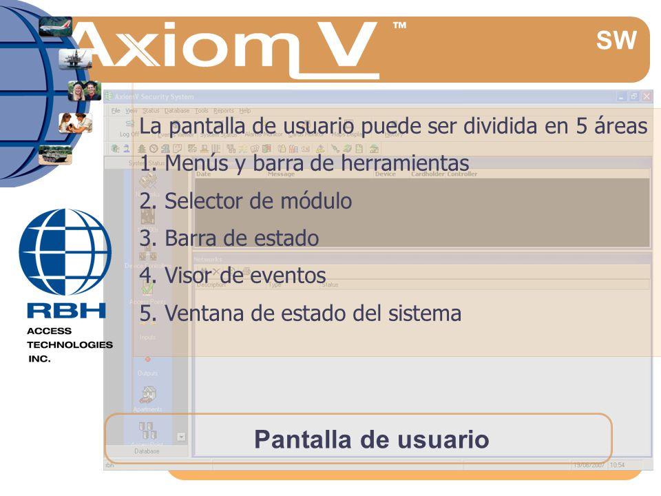 Pantalla de usuario La pantalla de usuario puede ser dividida en 5 áreas 1.