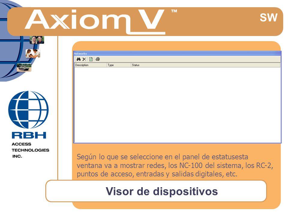 Visor de dispositivos Según lo que se seleccione en el panel de estatusesta ventana va a mostrar redes, los NC-100 del sistema, los RC-2, puntos de acceso, entradas y salidas digitales, etc.