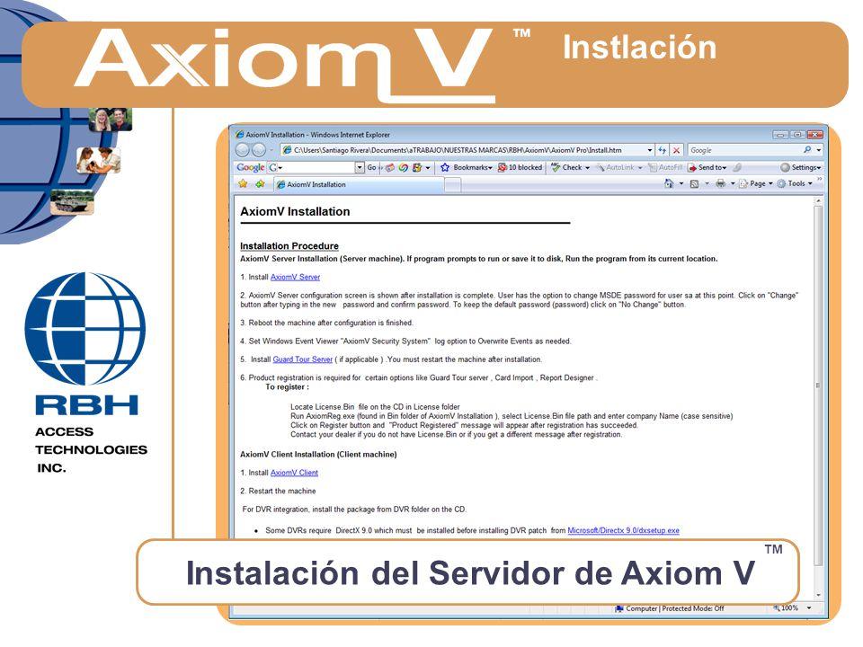 Instalación del Servidor de Axiom V ™ Instlación