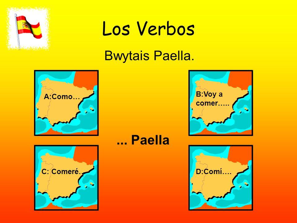 Los Verbos Bwytais Paella. A:Como… B:Voy a comer….. C: Comeré…D:Comí….... Paella