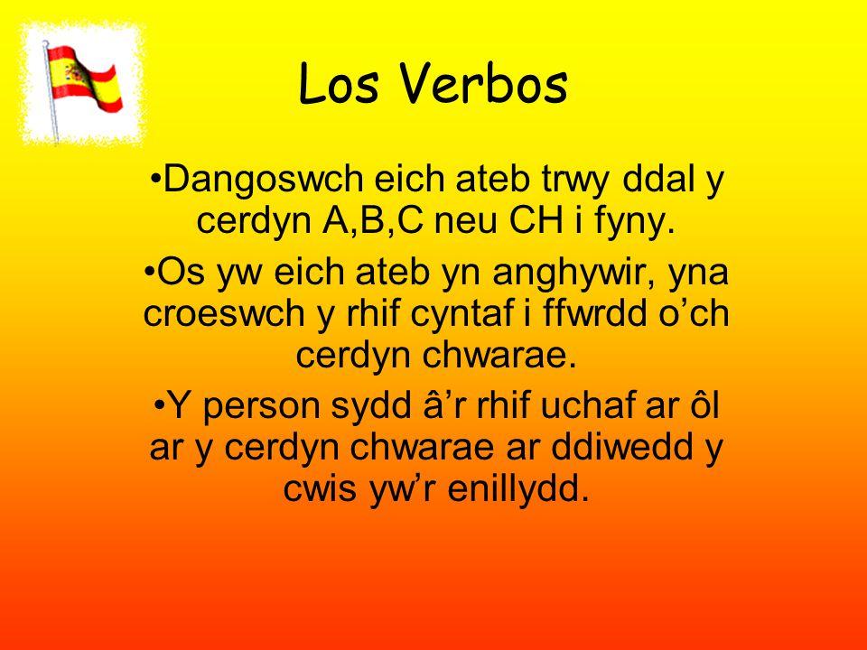 Los Verbos Dangoswch eich ateb trwy ddal y cerdyn A,B,C neu CH i fyny.