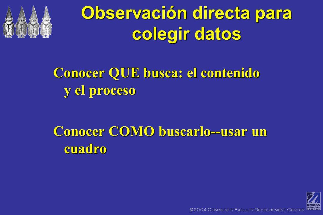 _ La observación directa del aprendiz por el profesor es probablamente lo mas valioso fondo de datos sobre el aprendiz _ Como un médico, uno de sus destrezas mas fuertes es observación Observación directa