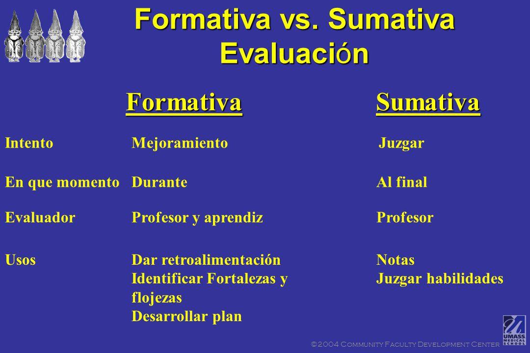 FormativaFormativa SumativaSumativa Dos tipos de Evaluación ©2004 Community Faculty Development Center