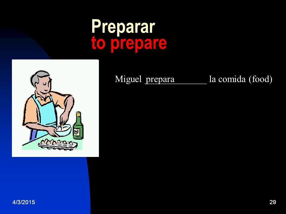 4/3/201529 Preparar to prepare Miguel _____________ la comida (food)prepara