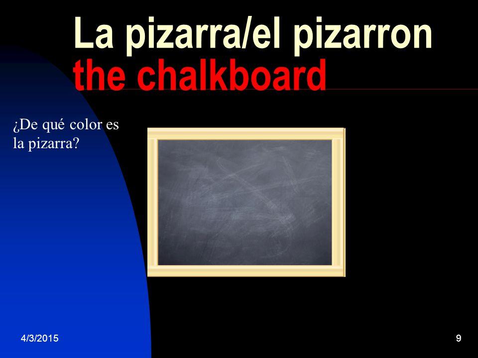 4/3/20159 La pizarra/el pizarron the chalkboard ¿De qué color es la pizarra