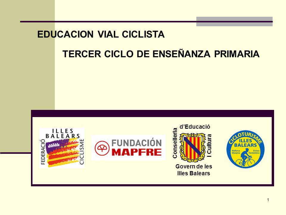 1 Conselleria d'Educació I Cultura Govern de les Illes Balears EDUCACION VIAL CICLISTA TERCER CICLO DE ENSEÑANZA PRIMARIA