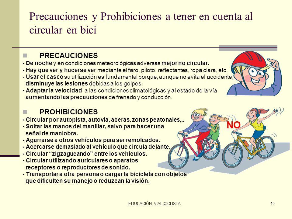 EDUCACIÓN VIAL CICLISTA10 Precauciones y Prohibiciones a tener en cuenta al circular en bici PRECAUCIONES - De noche y en condiciones meteorológicas adversas mejor no circular.