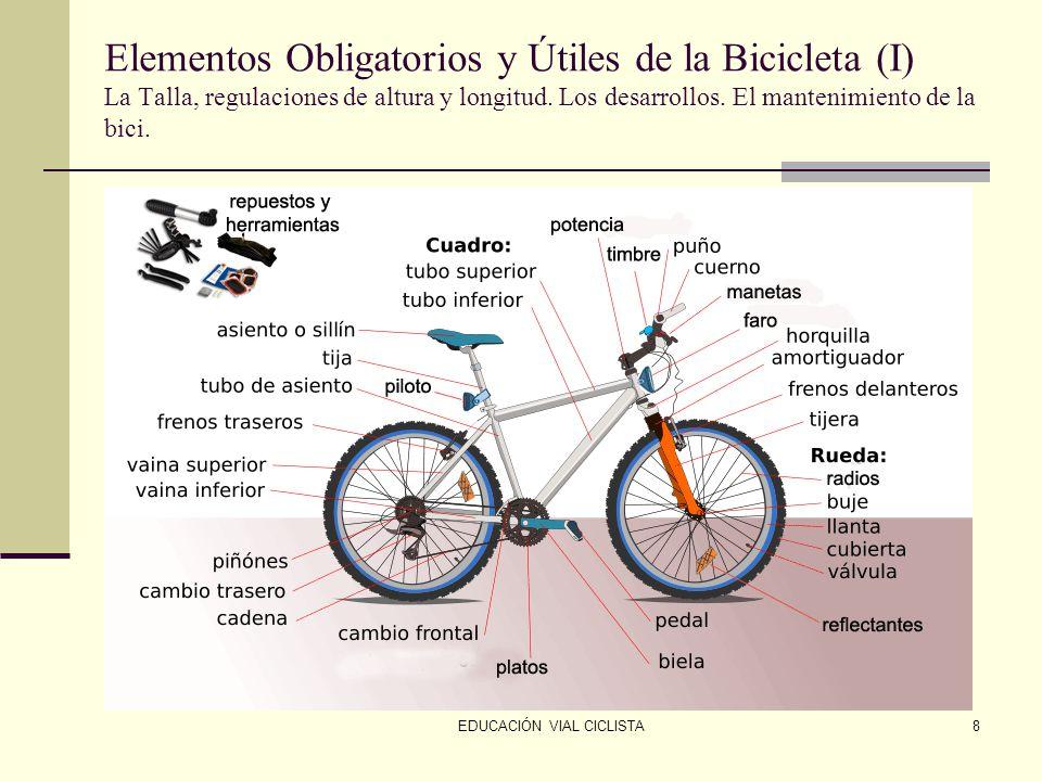 EDUCACIÓN VIAL CICLISTA8 Elementos Obligatorios y Útiles de la Bicicleta (I) La Talla, regulaciones de altura y longitud.