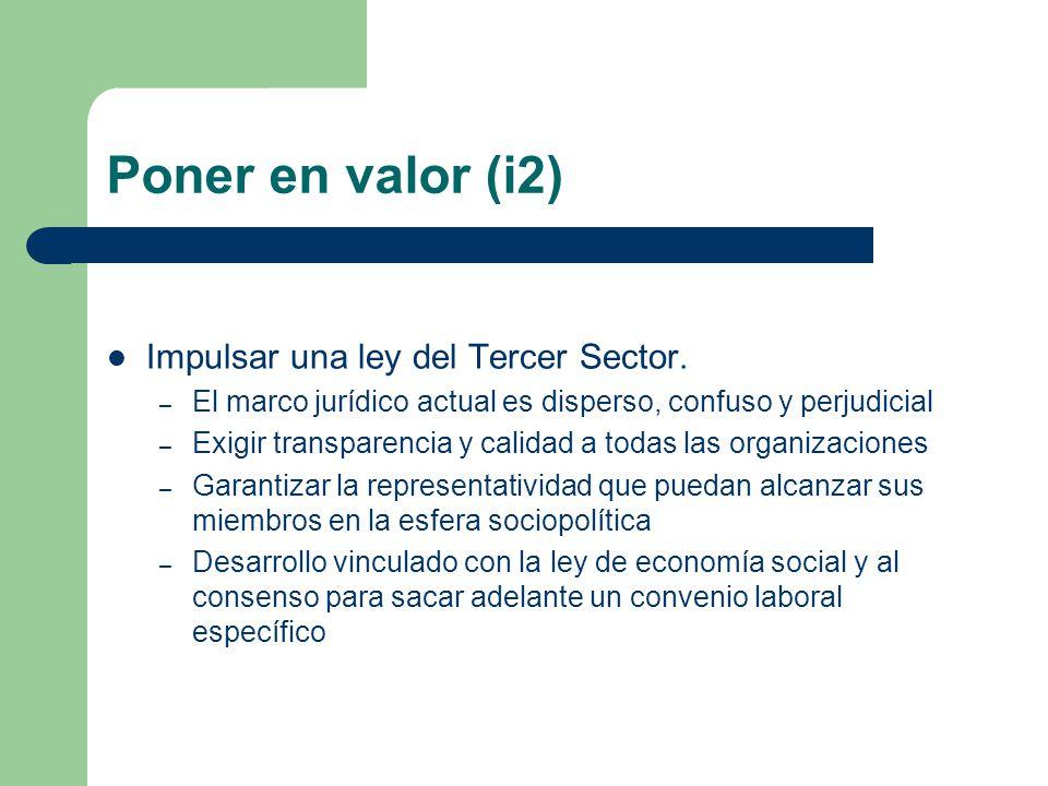 Poner en valor (i2) Impulsar una ley del Tercer Sector.