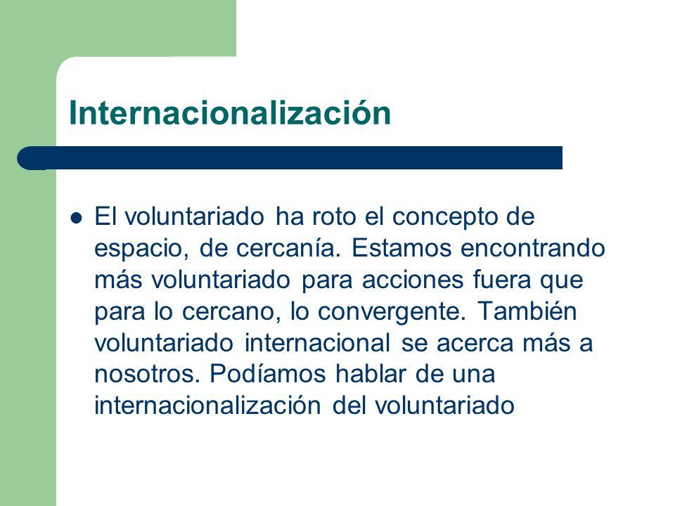 Internacionalización El voluntariado ha roto el concepto de espacio, de cercanía.