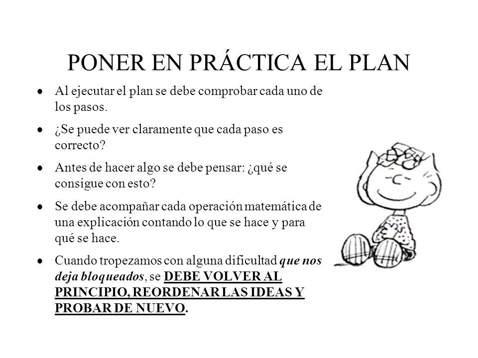 PONER EN PRÁCTICA EL PLAN  Al ejecutar el plan se debe comprobar cada uno de los pasos.