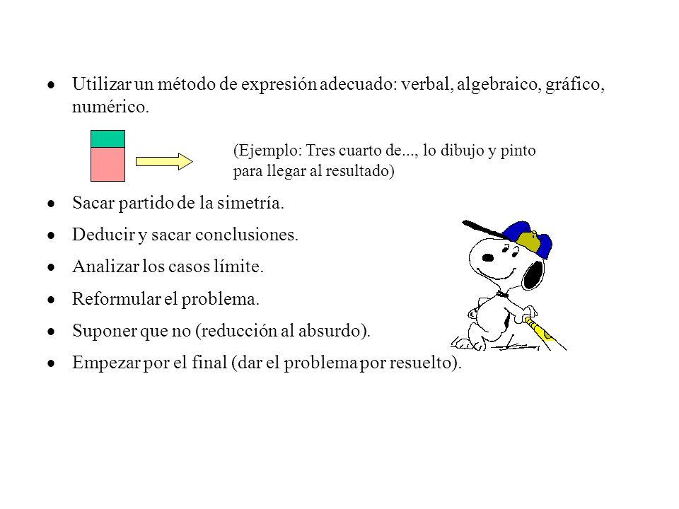  Utilizar un método de expresión adecuado: verbal, algebraico, gráfico, numérico.