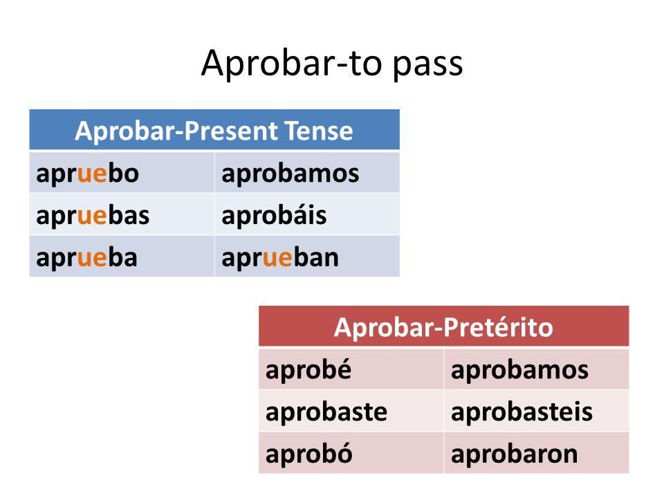 Aprobar-to pass Aprobar-Present Tense aprueboaprobamos apruebasaprobáis apruebaaprueban Aprobar-Pretérito aprobéaprobamos aprobasteaprobasteis aprobóaprobaron