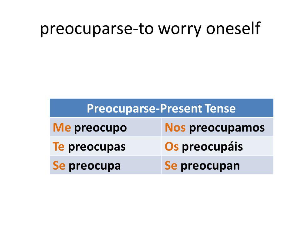 preocuparse-to worry oneself Preocuparse-Present Tense Me preocupoNos preocupamos Te preocupasOs preocupáis Se preocupaSe preocupan