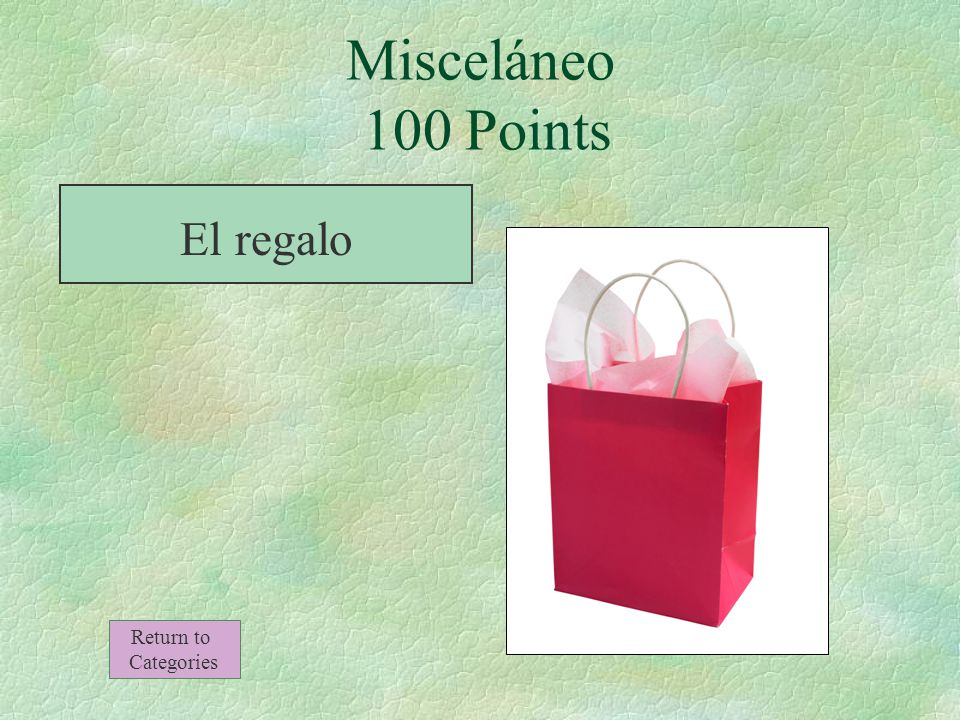¿Qué es esto Misceláneo 100 Points Return to Categories