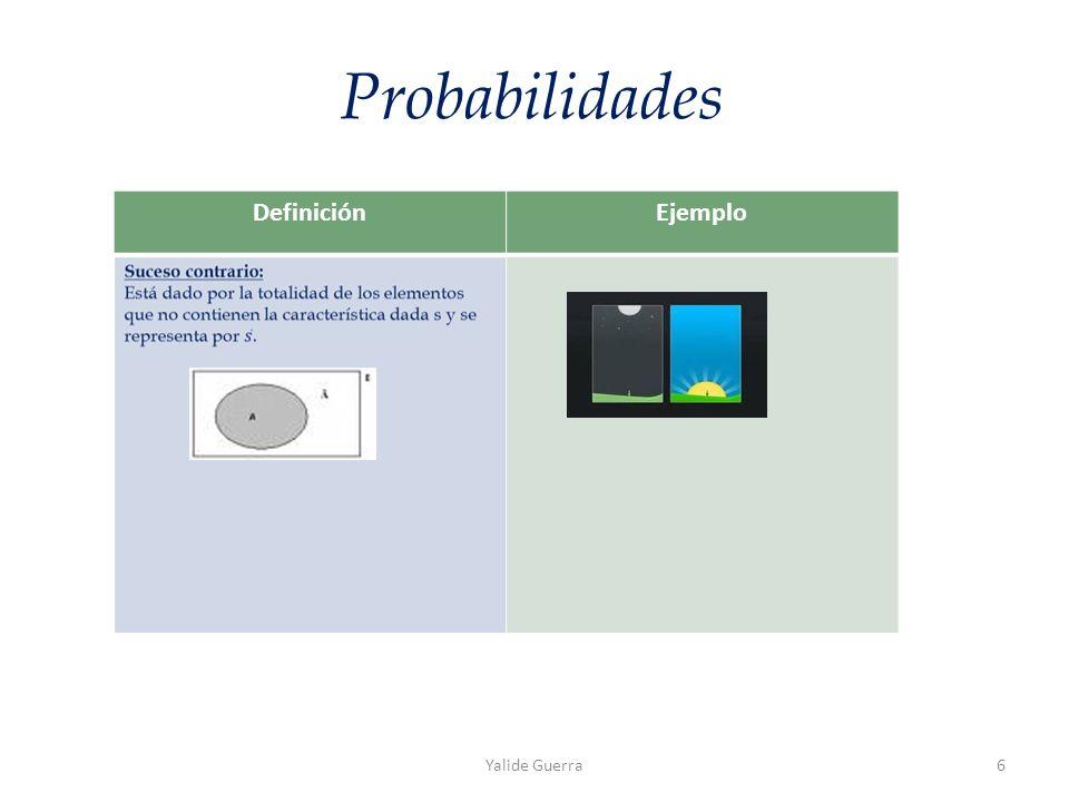 DefiniciónEjemplo Probabilidades Yalide Guerra6