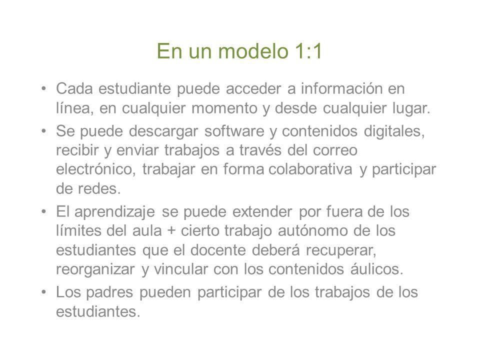 En un modelo 1:1 Cada estudiante puede acceder a información en línea, en cualquier momento y desde cualquier lugar.