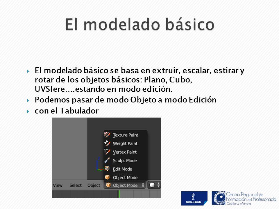  El modelado básico se basa en extruir, escalar, estirar y rotar de los objetos básicos: Plano, Cubo, UVSfere….estando en modo edición.