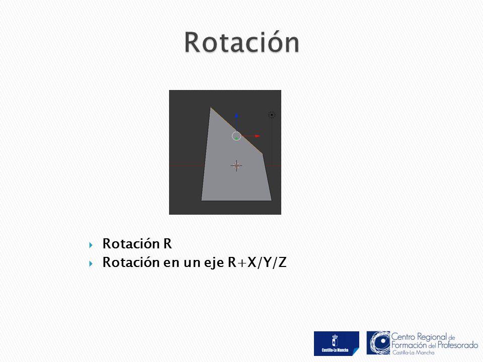 Rotación R  Rotación en un eje R+X/Y/Z