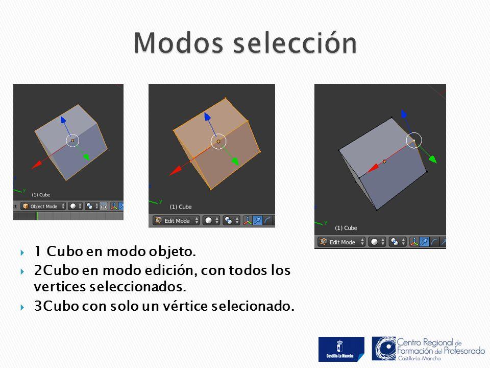  1 Cubo en modo objeto.  2Cubo en modo edición, con todos los vertices seleccionados.