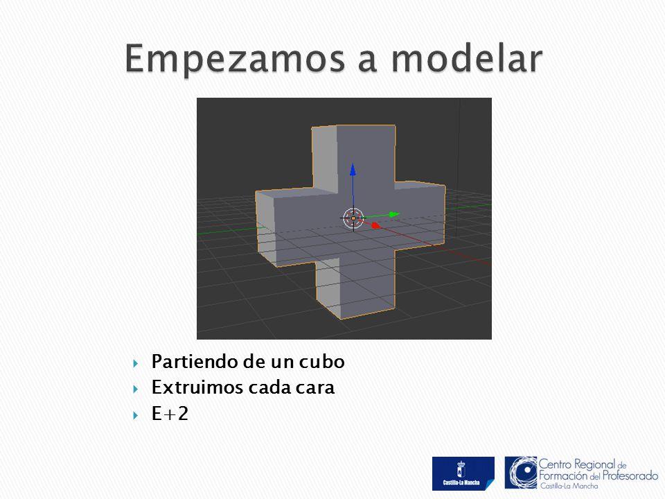  Partiendo de un cubo  Extruimos cada cara  E+2